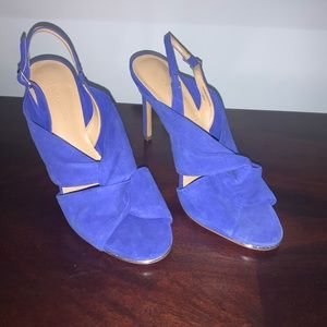 BANANA REPUBLIC HEELS Blue Suede Knot open toe 8.5